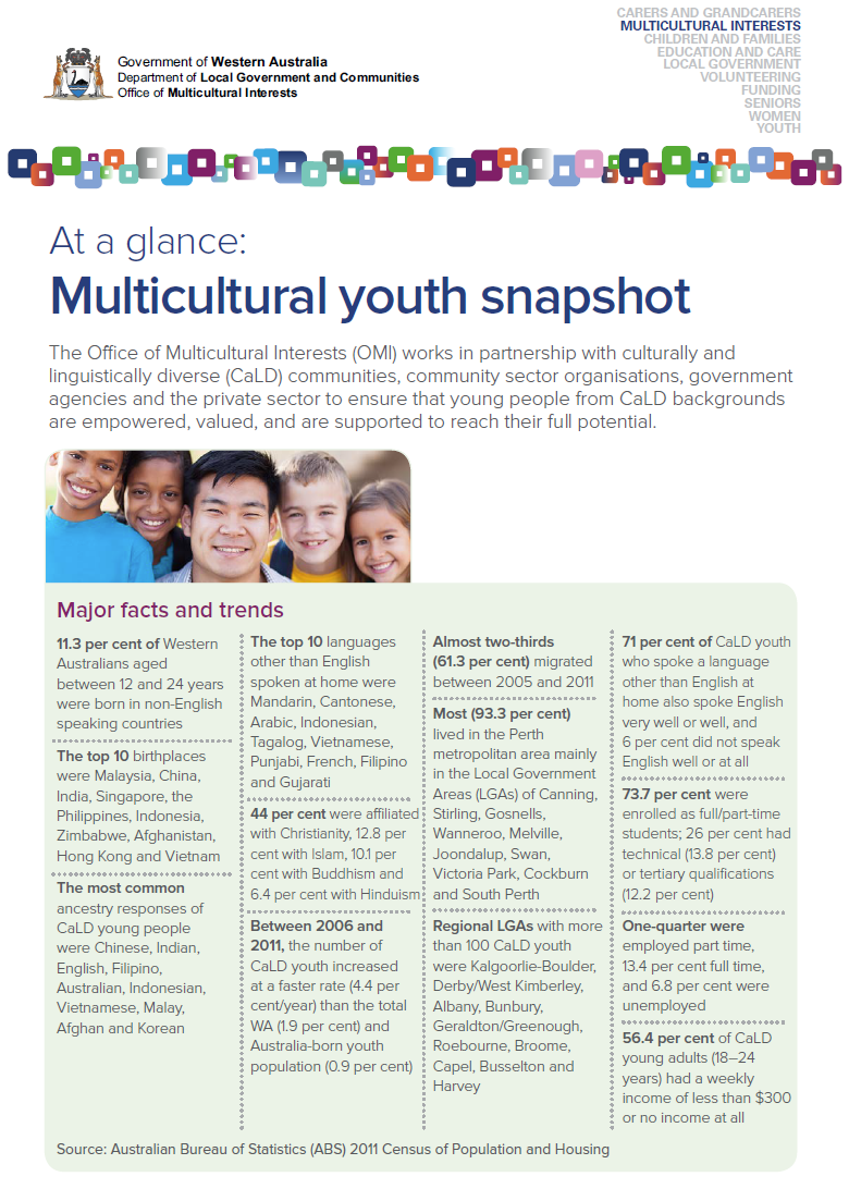 At a glance: Multicultural youth snapshot