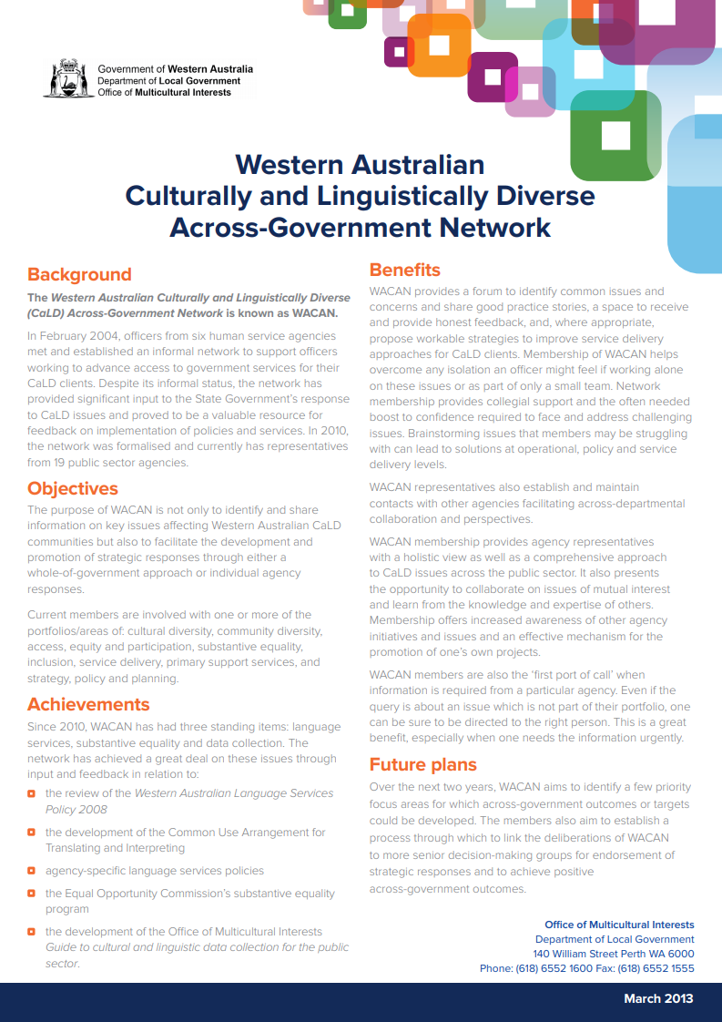 Western Australian Culturally and Linguistically Diverse Across-Government Network